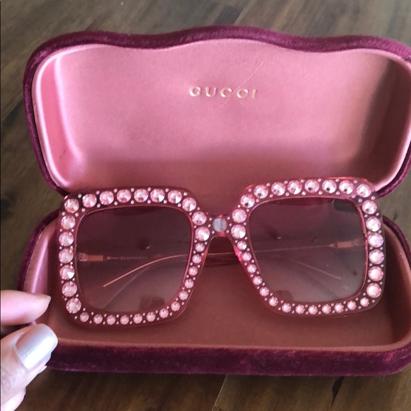 3db683a319 Gucci Accessories - Gucci pink square rhinestone sunnies! Authentic!
